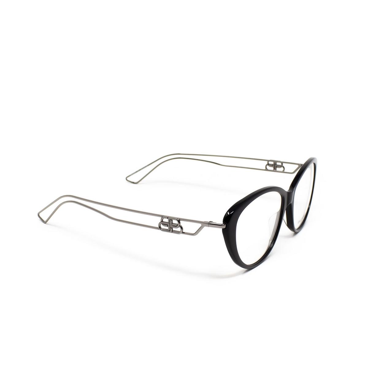 Balenciaga® Butterfly Eyeglasses: BB0067O color Black 001 - three-quarters view.