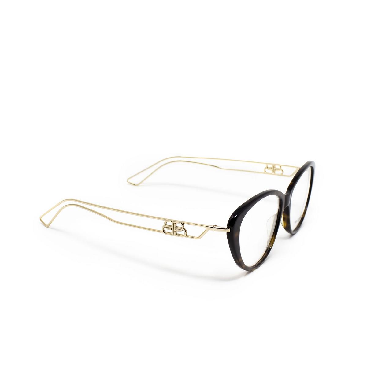 Balenciaga® Butterfly Eyeglasses: BB0067O color Havana 002 - three-quarters view.