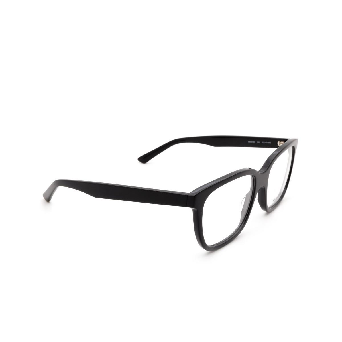 Balenciaga® Square Eyeglasses: BB0078O color Black 001 - three-quarters view.
