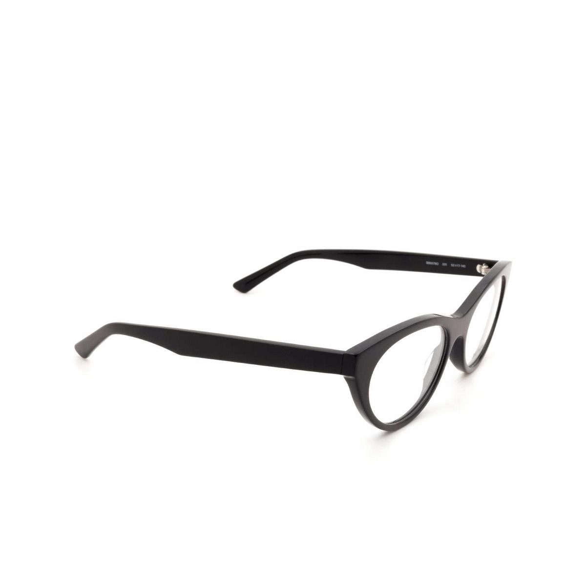 Balenciaga® Cat-eye Eyeglasses: BB0079O color Black 001 - three-quarters view.