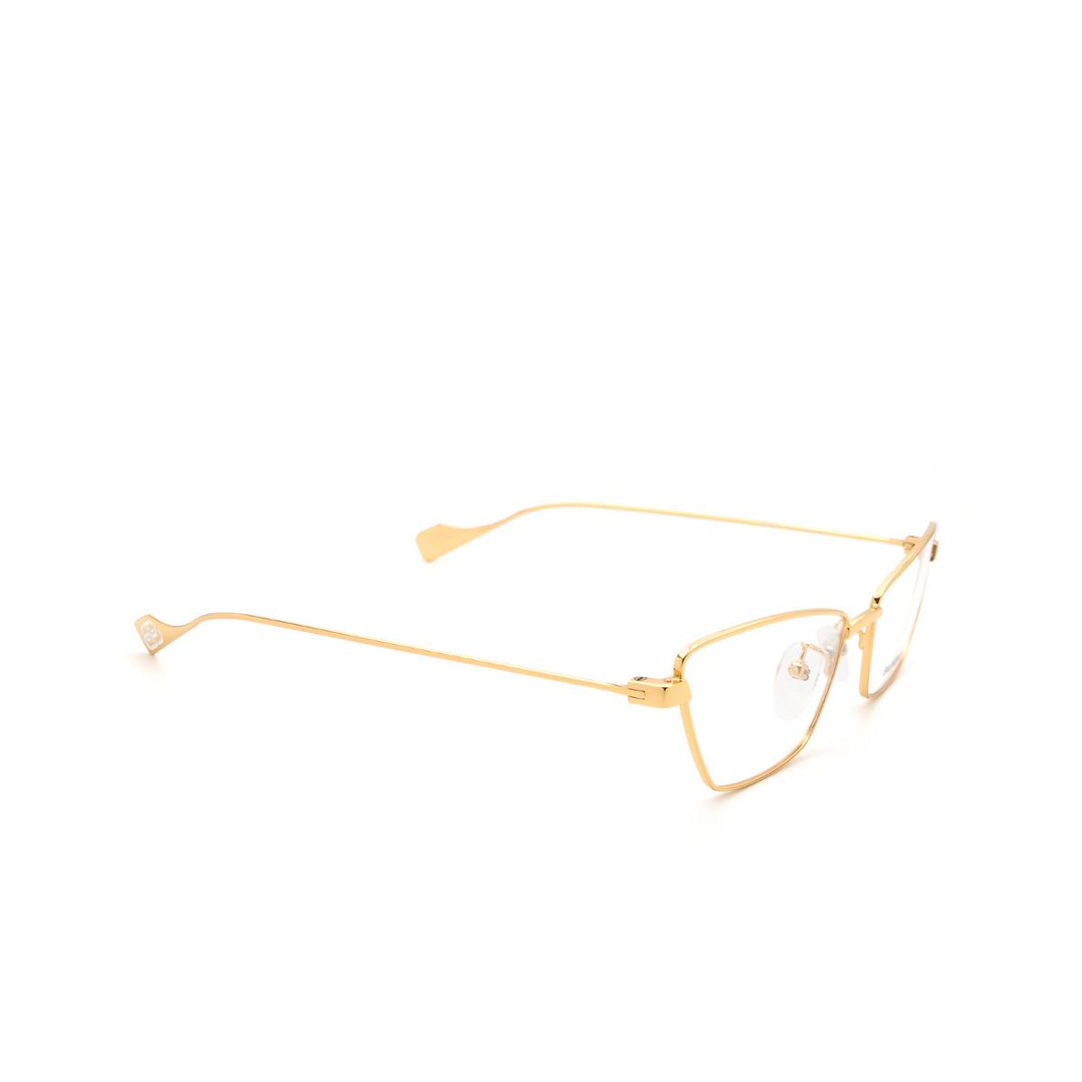 Balenciaga® Cat-eye Eyeglasses: BB0091O color Gold 003 - three-quarters view.