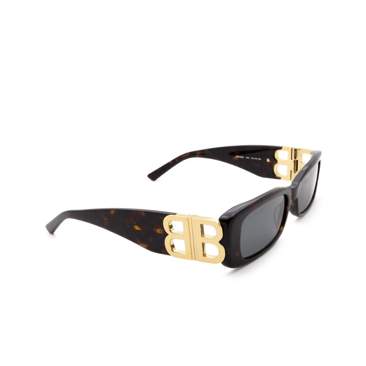 Balenciaga® Rectangle Sunglasses: BB0096S color Havana 002.