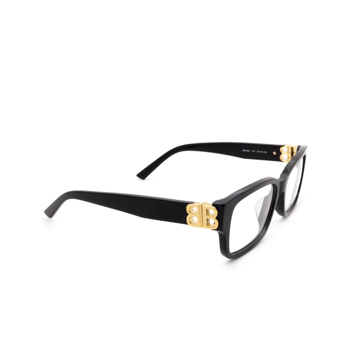 Balenciaga® Rectangle Eyeglasses: BB0105O color Black 001 - three-quarters view.