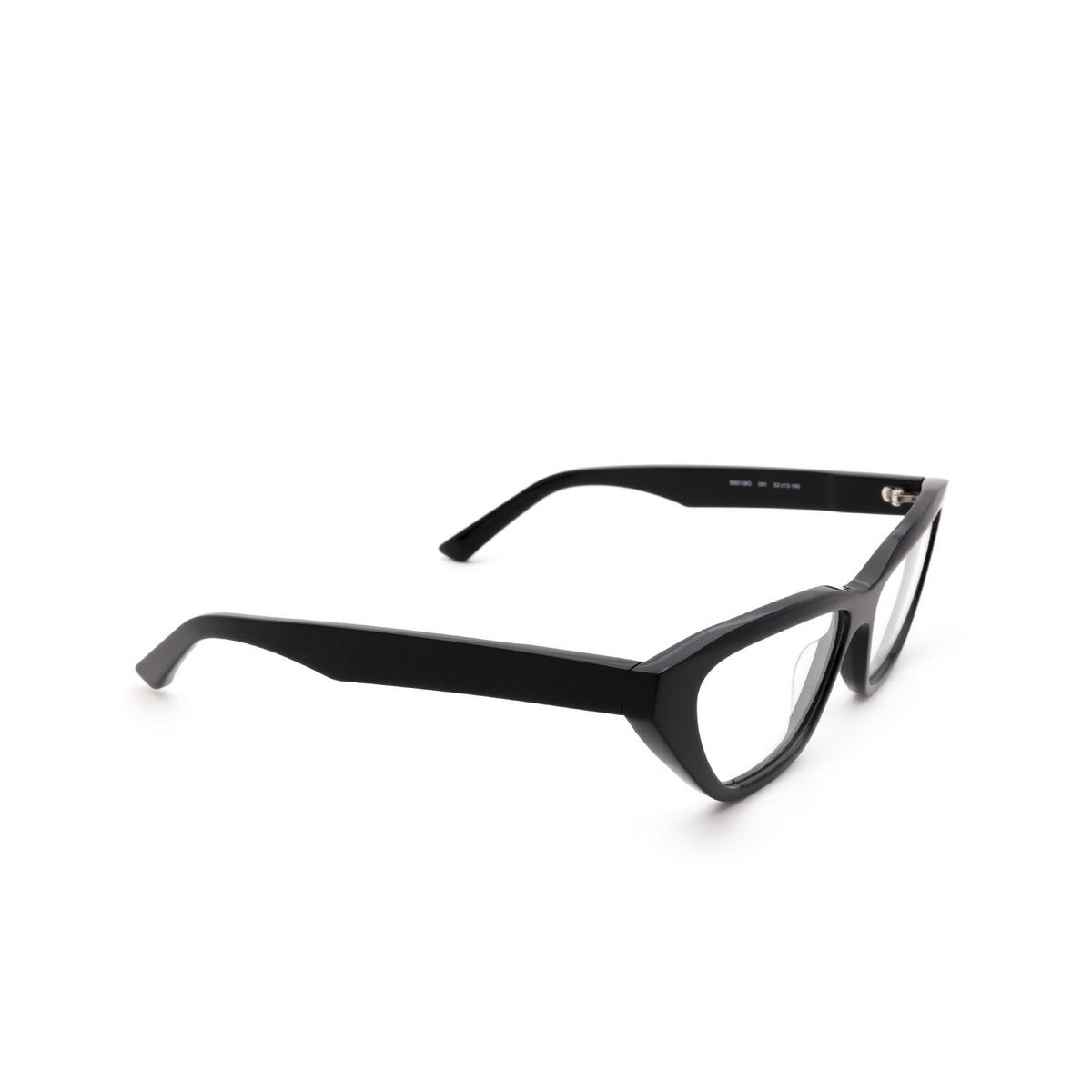 Balenciaga® Cat-eye Eyeglasses: BB0128O color Black 001 - three-quarters view.