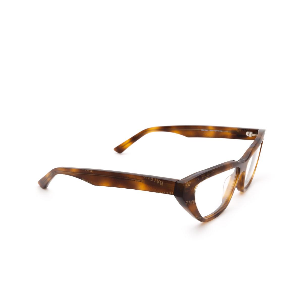 Balenciaga® Cat-eye Eyeglasses: BB0128O color Havana 002 - three-quarters view.