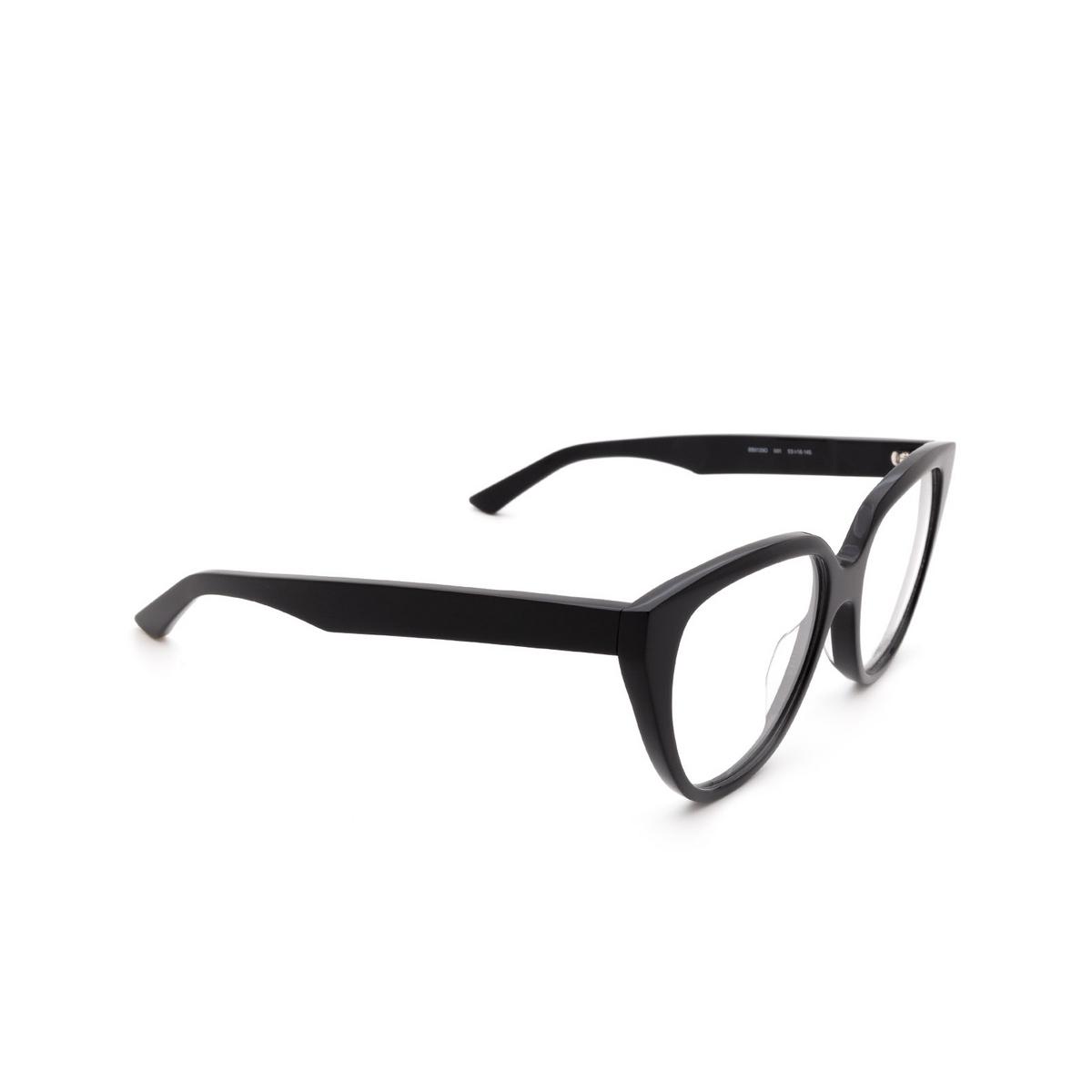 Balenciaga® Square Eyeglasses: BB0129O color Black 001 - three-quarters view.