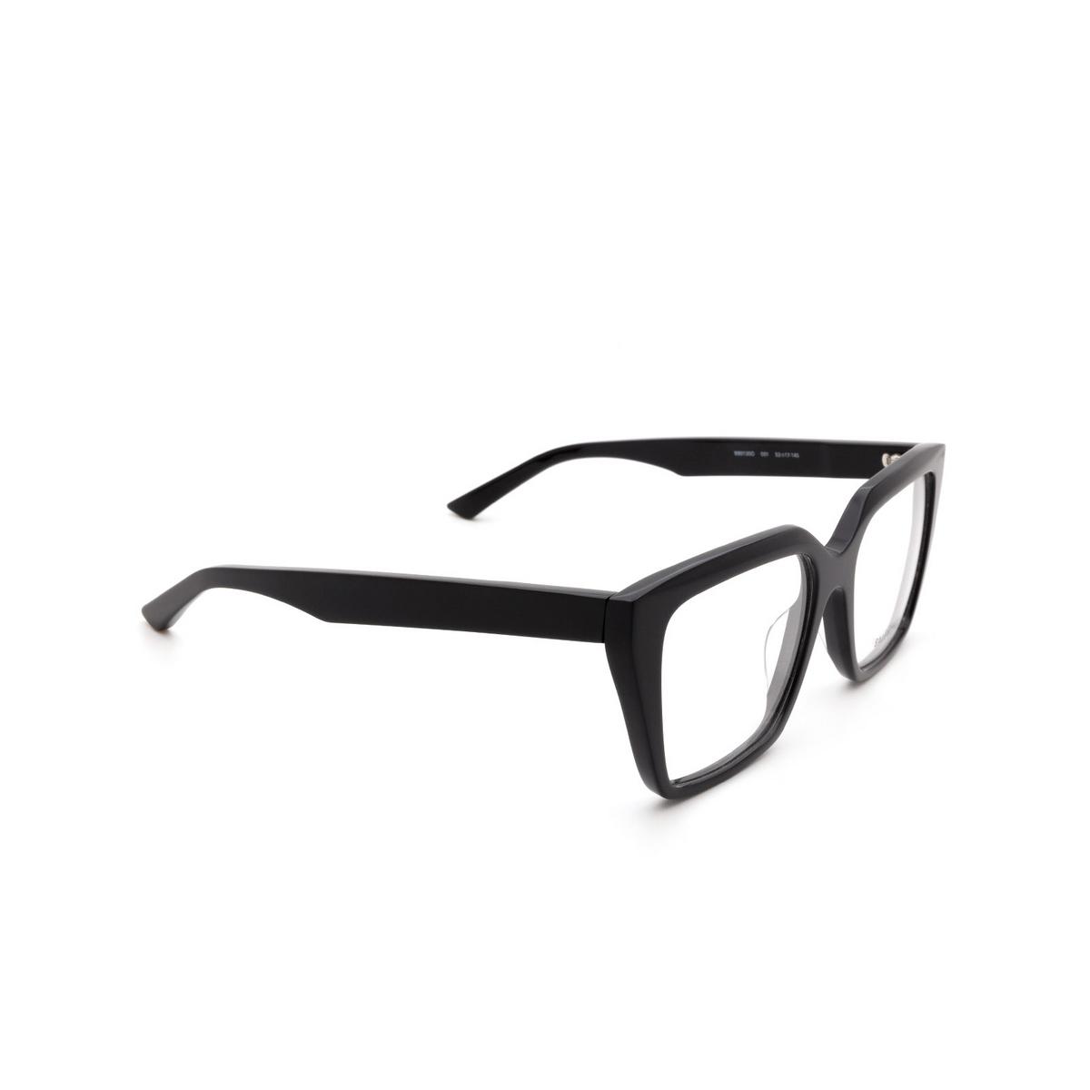Balenciaga® Square Eyeglasses: BB0130O color Black 001 - three-quarters view.