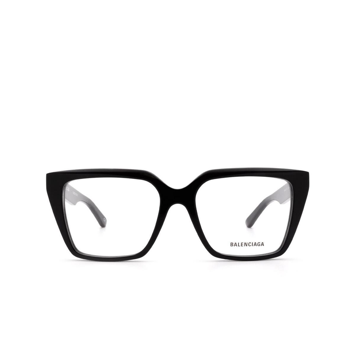 Balenciaga® Square Eyeglasses: BB0130O color Black 001 - front view.
