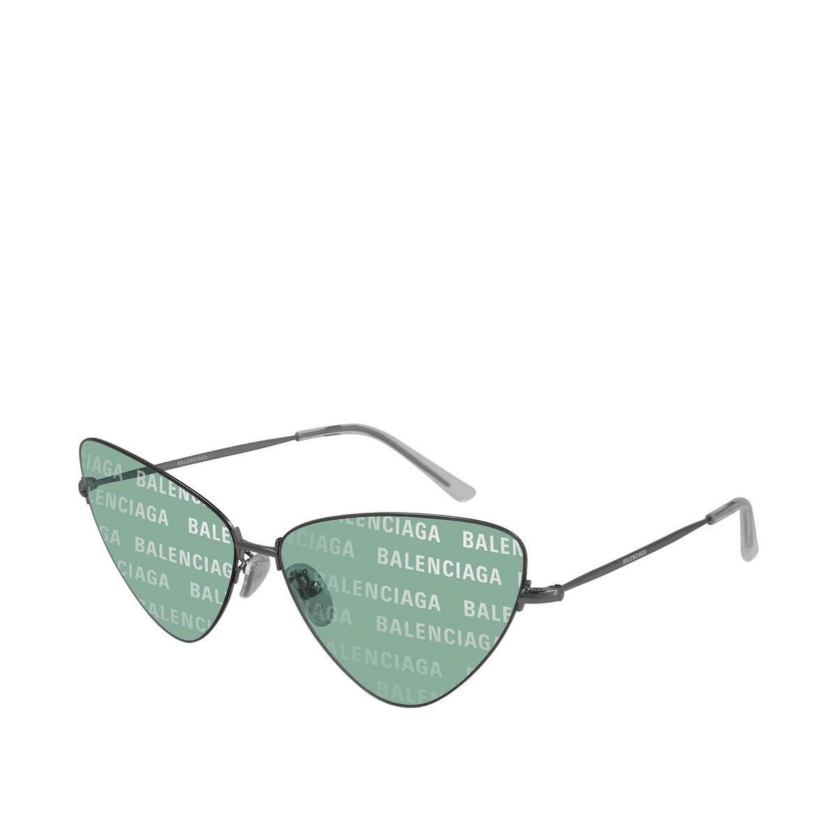 Balenciaga® Cat-eye Sunglasses: BB0148S color Shiny Dark Grey 002 - three-quarters view.