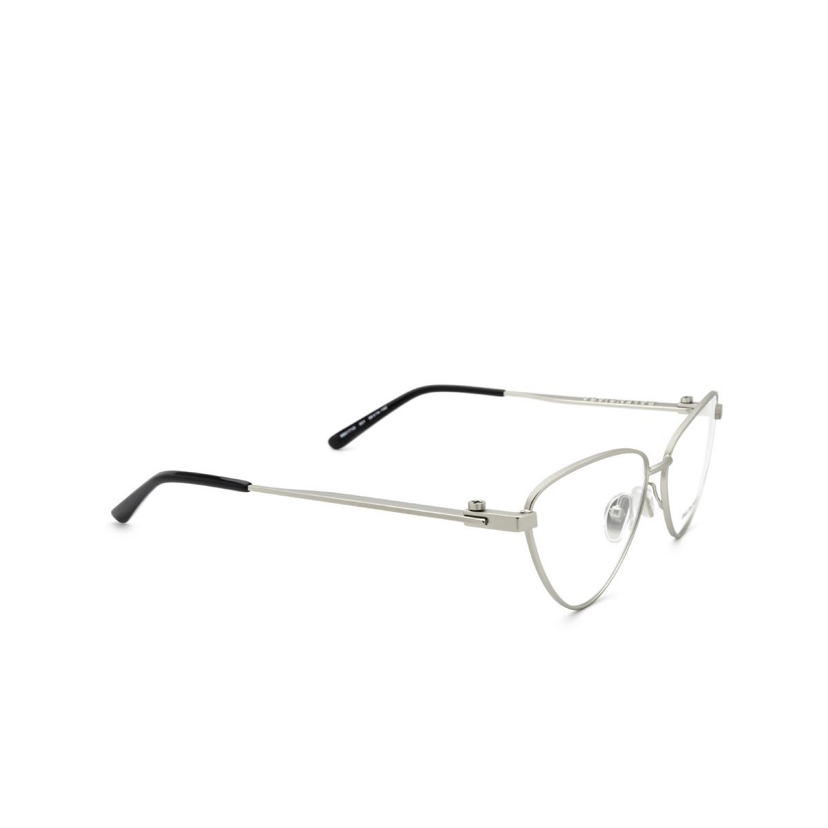 Balenciaga® Cat-eye Eyeglasses: BB0171O color Silver 001 - three-quarters view.