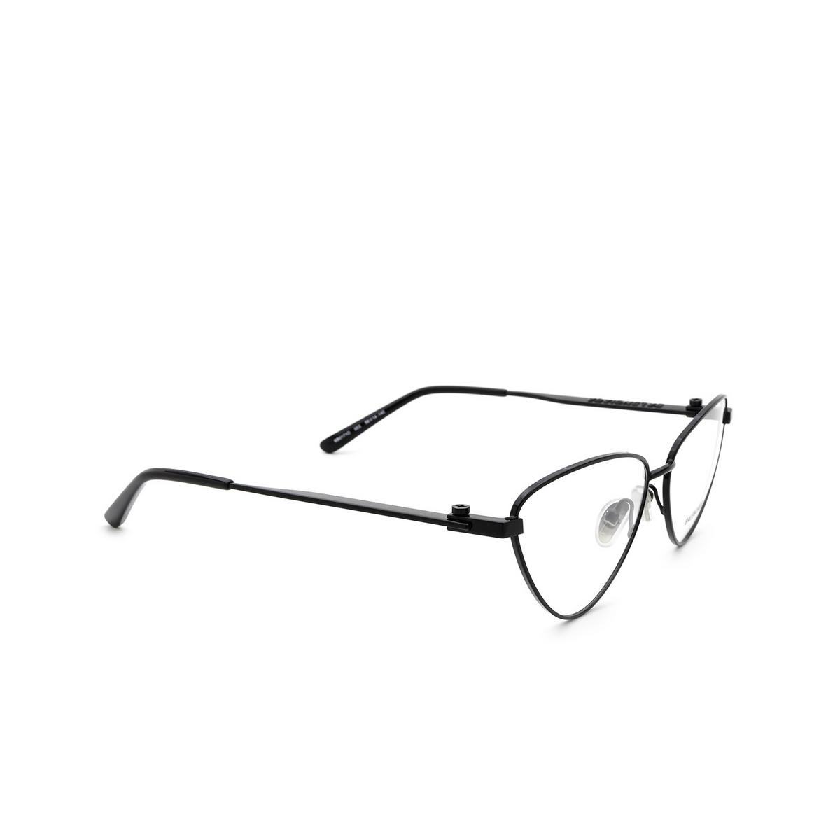 Balenciaga® Cat-eye Eyeglasses: BB0171O color Black 003 - three-quarters view.