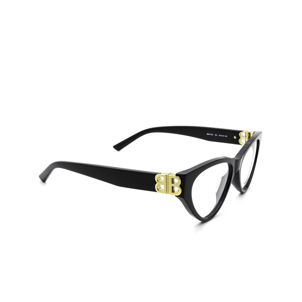 Balenciaga® Cat-eye Eyeglasses: BB0172O color Black 001 - three-quarters view.