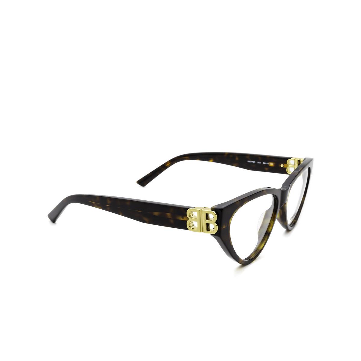 Balenciaga® Cat-eye Eyeglasses: BB0172O color Havana 002 - three-quarters view.