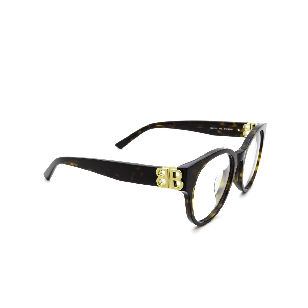 Balenciaga® Cat-eye Eyeglasses: BB0173O color Havana 002 - three-quarters view.