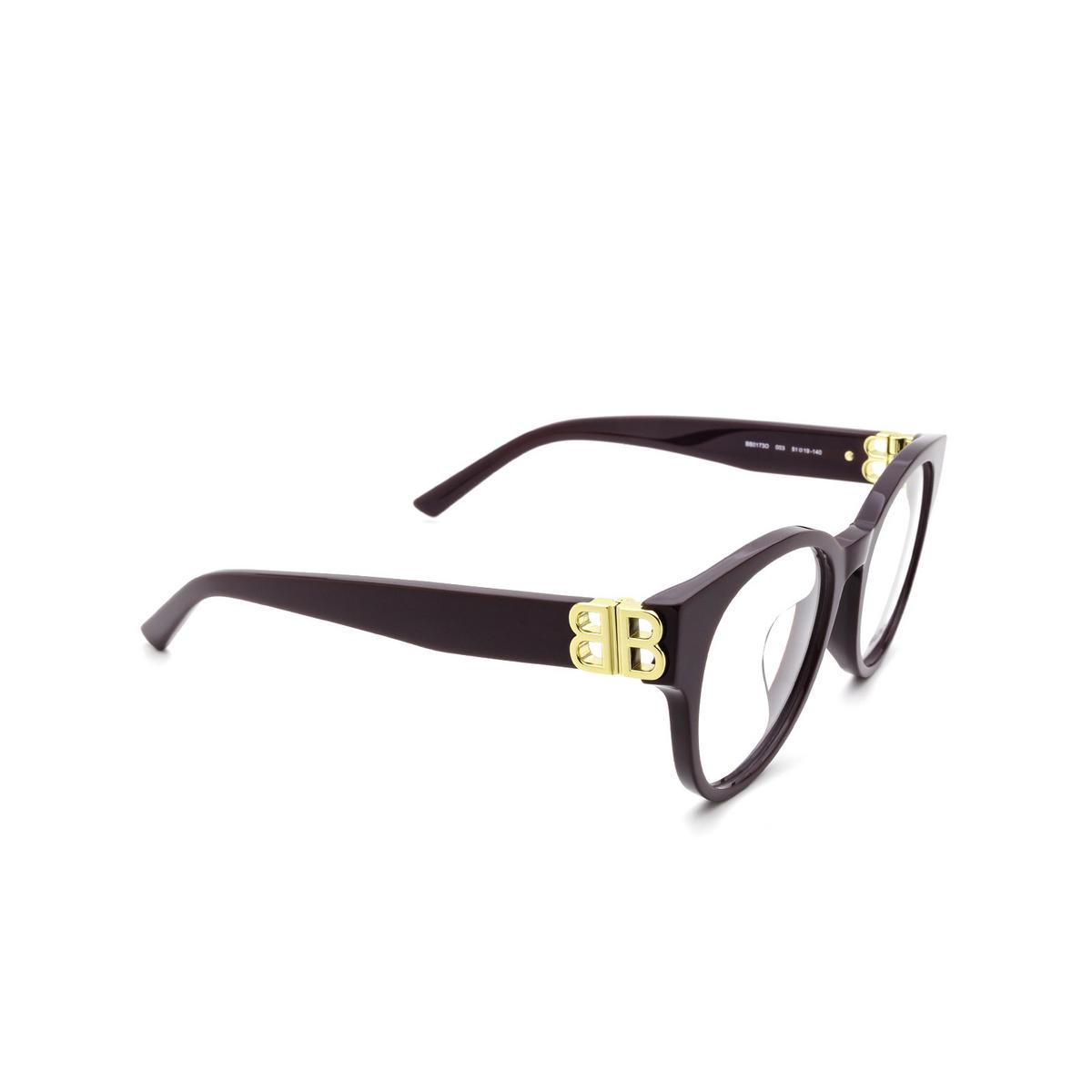 Balenciaga® Cat-eye Eyeglasses: BB0173O color Violet 003 - three-quarters view.