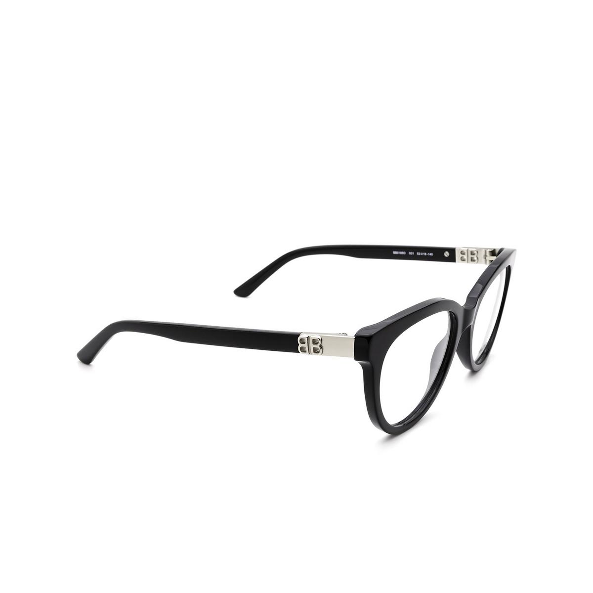Balenciaga® Cat-eye Eyeglasses: BB0185O color Black 001 - three-quarters view.