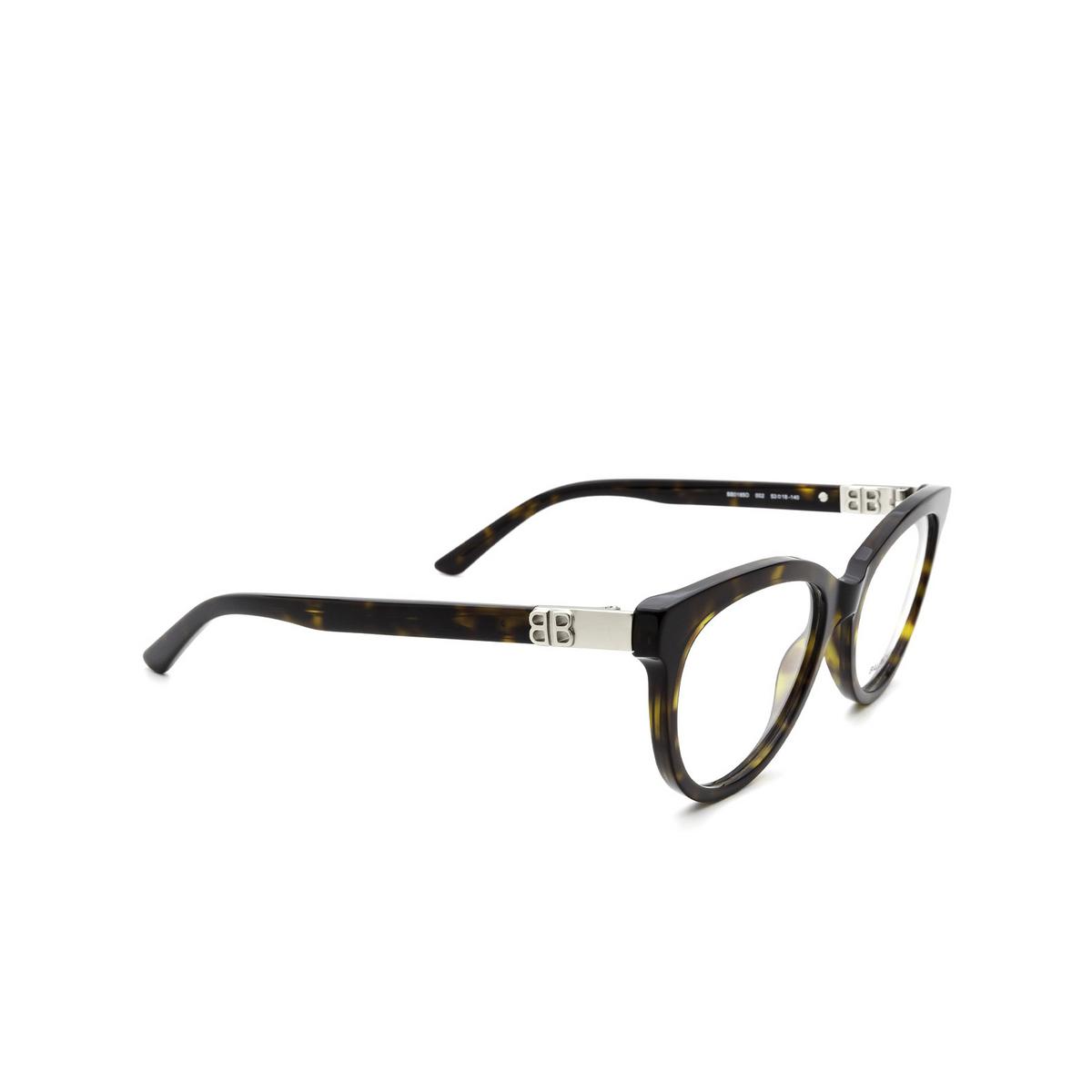 Balenciaga® Cat-eye Eyeglasses: BB0185O color Havana 002 - three-quarters view.