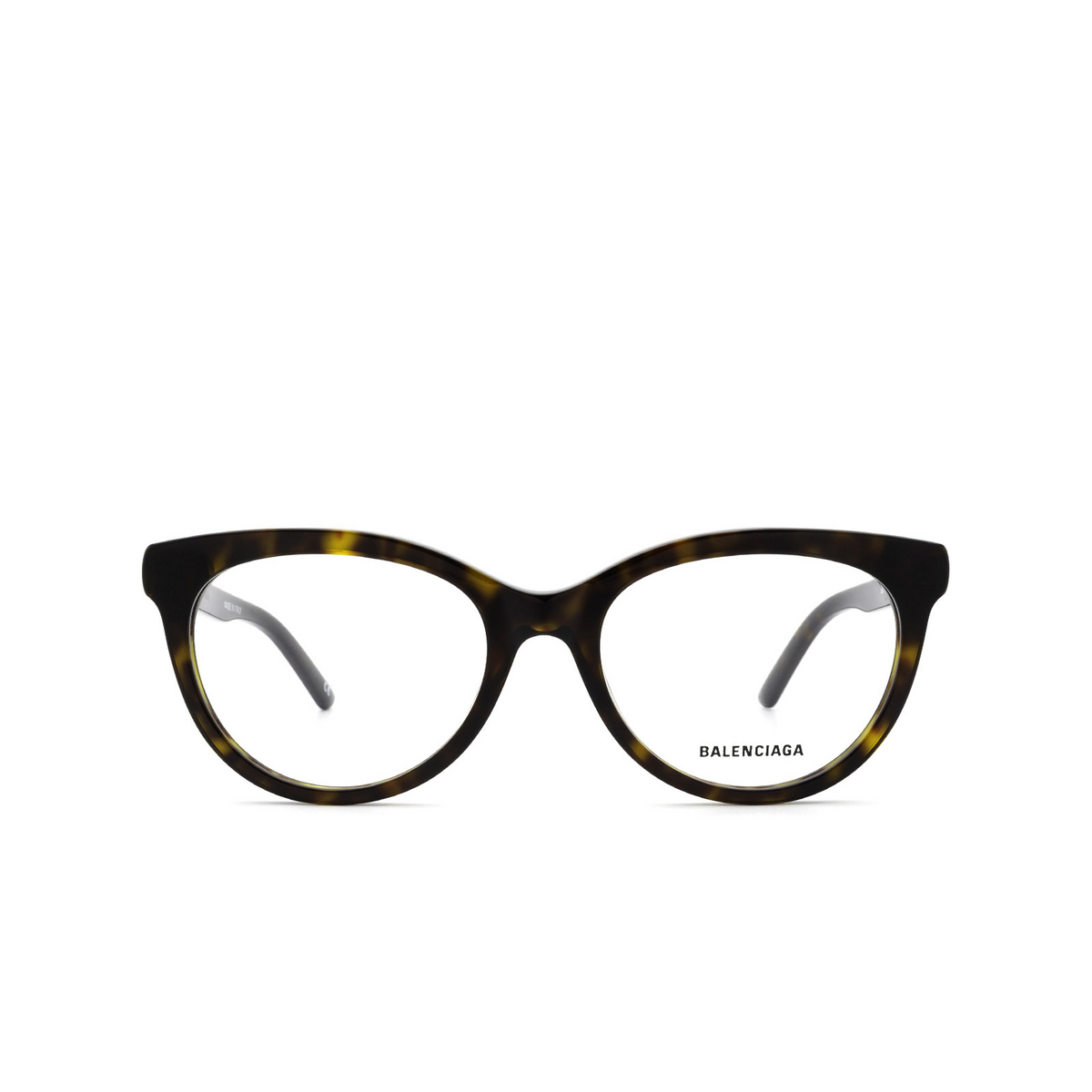 Balenciaga® Cat-eye Eyeglasses: BB0185O color Havana 002 - front view.