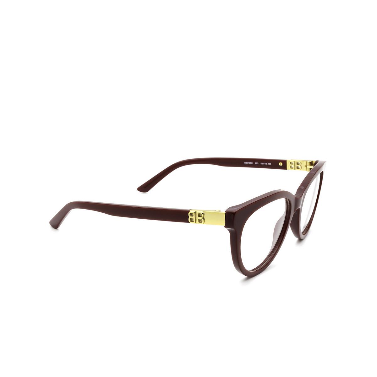 Balenciaga® Cat-eye Eyeglasses: BB0185O color Burgundy 003 - three-quarters view.