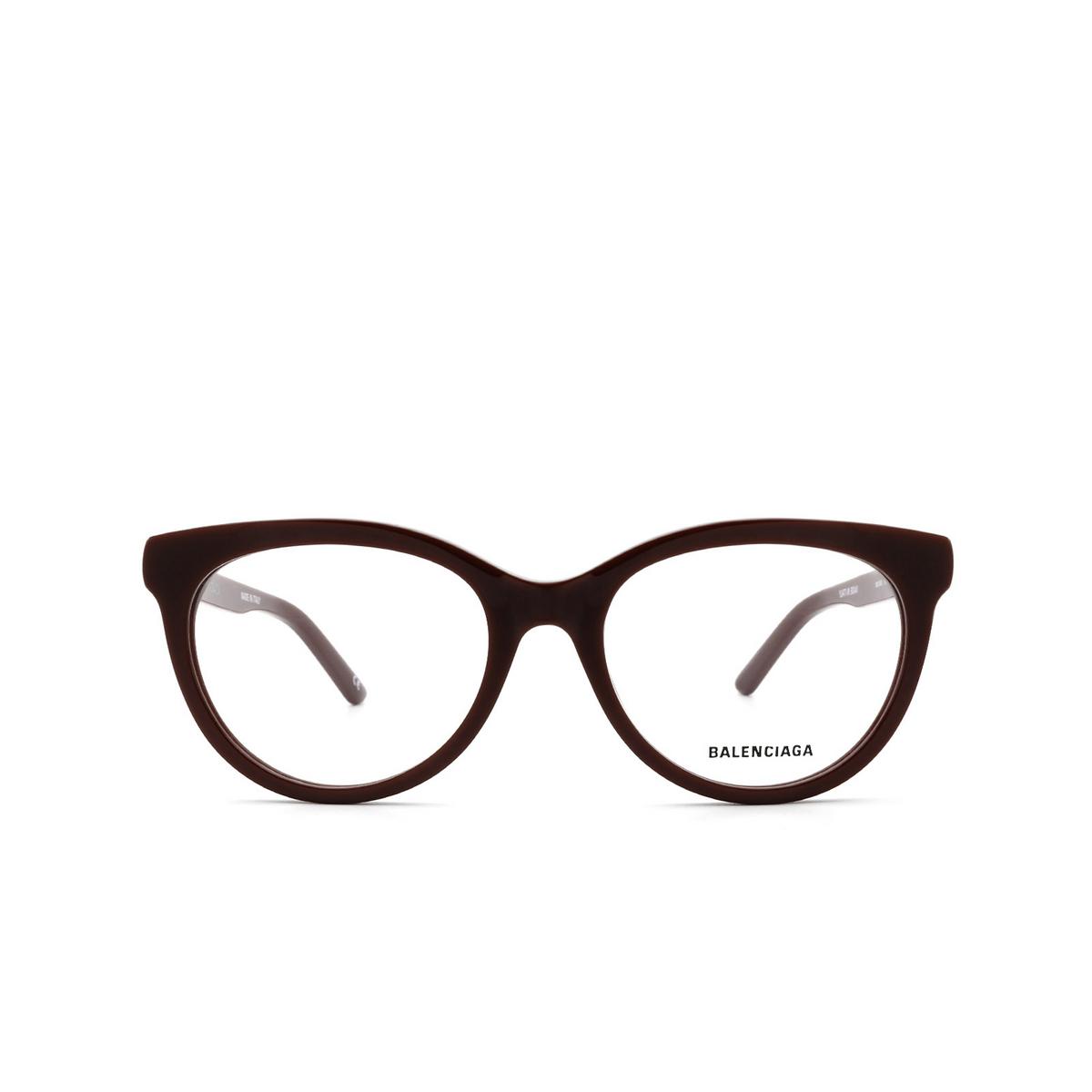 Balenciaga® Cat-eye Eyeglasses: BB0185O color Burgundy 003 - front view.