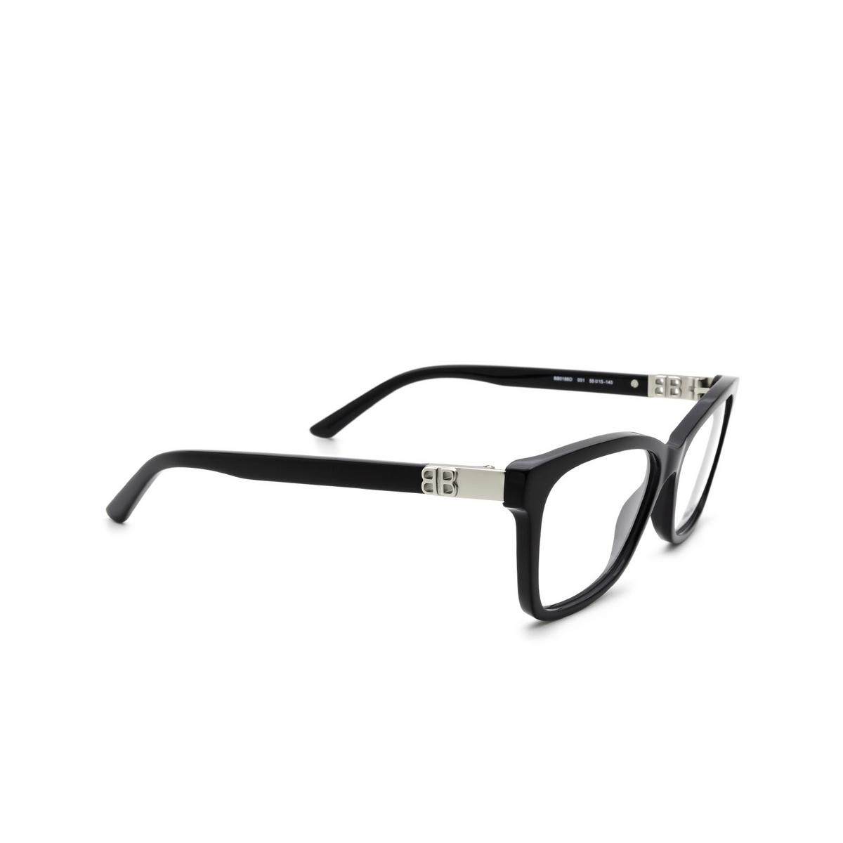 Balenciaga® Rectangle Eyeglasses: BB0186O color Black 001 - three-quarters view.