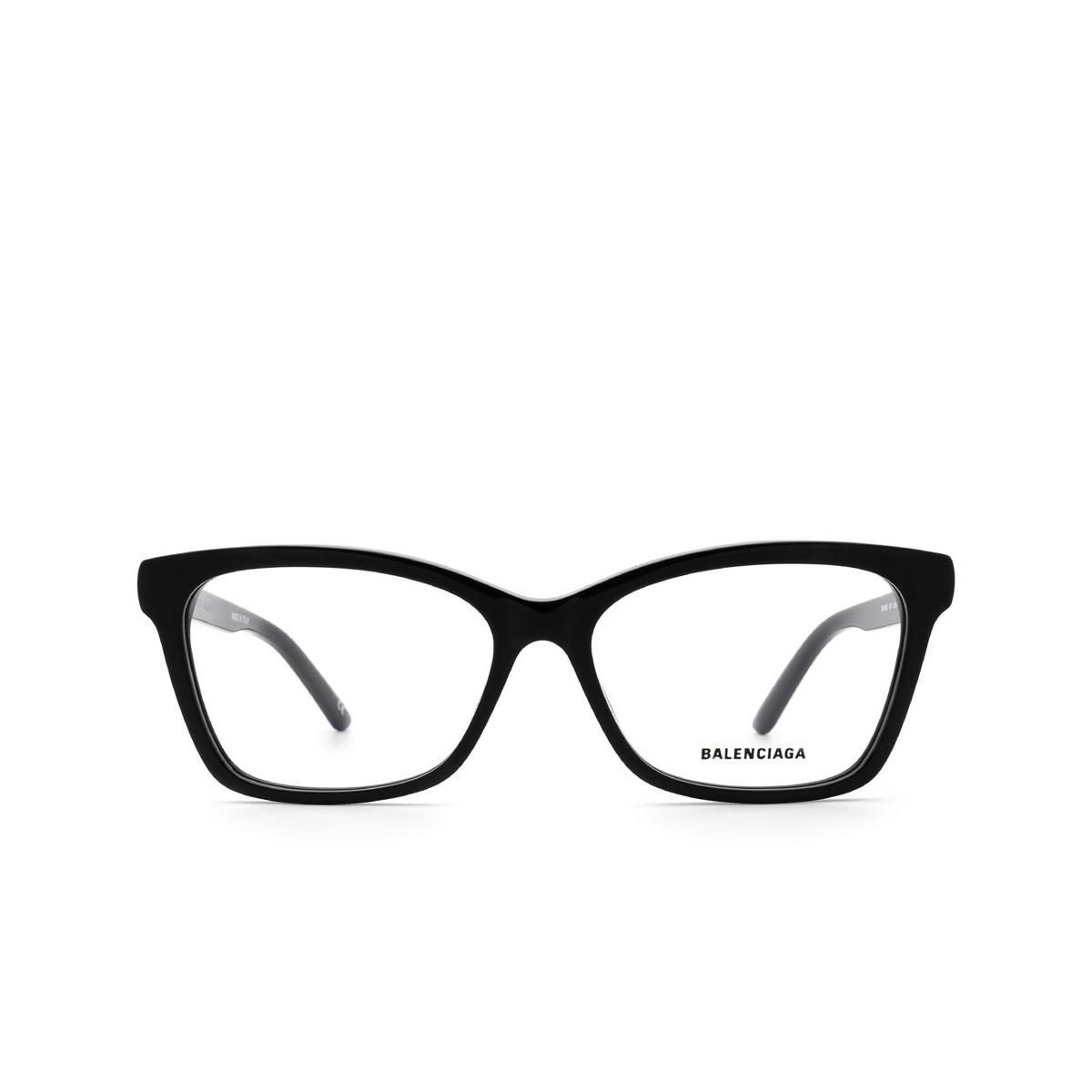 Balenciaga® Rectangle Eyeglasses: BB0186O color Black 001 - front view.
