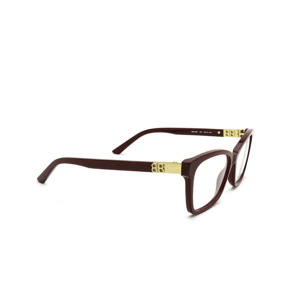 Balenciaga® Rectangle Eyeglasses: BB0186O color Burgundy 003 - three-quarters view.