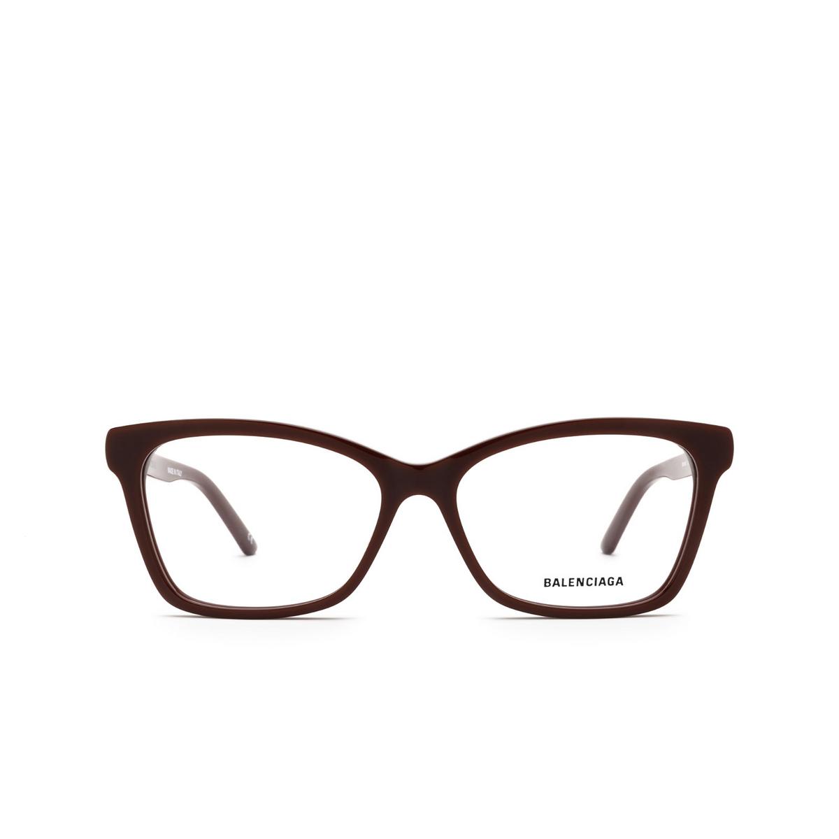 Balenciaga® Rectangle Eyeglasses: BB0186O color Burgundy 003 - front view.