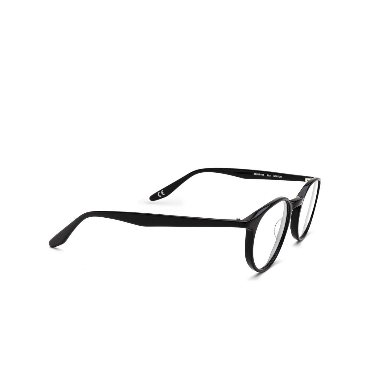 Barton Perreira® Round Eyeglasses: Norton BP5043 color Black 0EJ - three-quarters view.