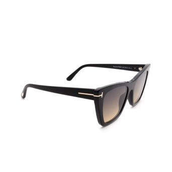 Tom Ford® Cat-eye Sunglasses: Poppy-02 FT0846 color Shiny Black 01B.