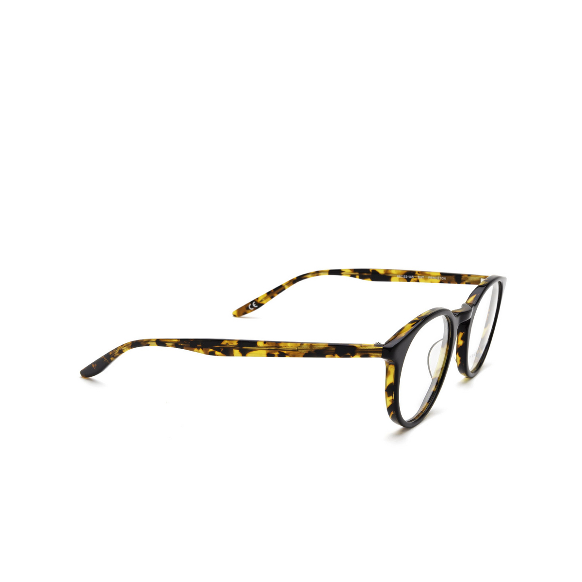Barton Perreira® Round Eyeglasses: Princeton BP5045 color Black Amber Tortoise 0CK - three-quarters view.