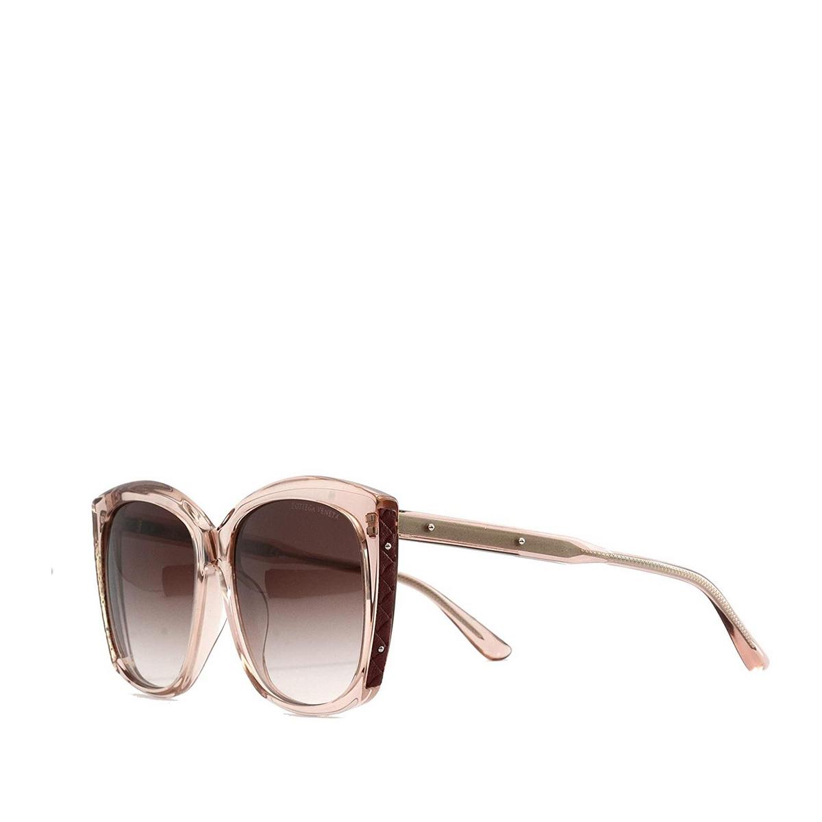 Bottega Veneta® Square Sunglasses: BV0182S color Transparent Pink 004 - three-quarters view.