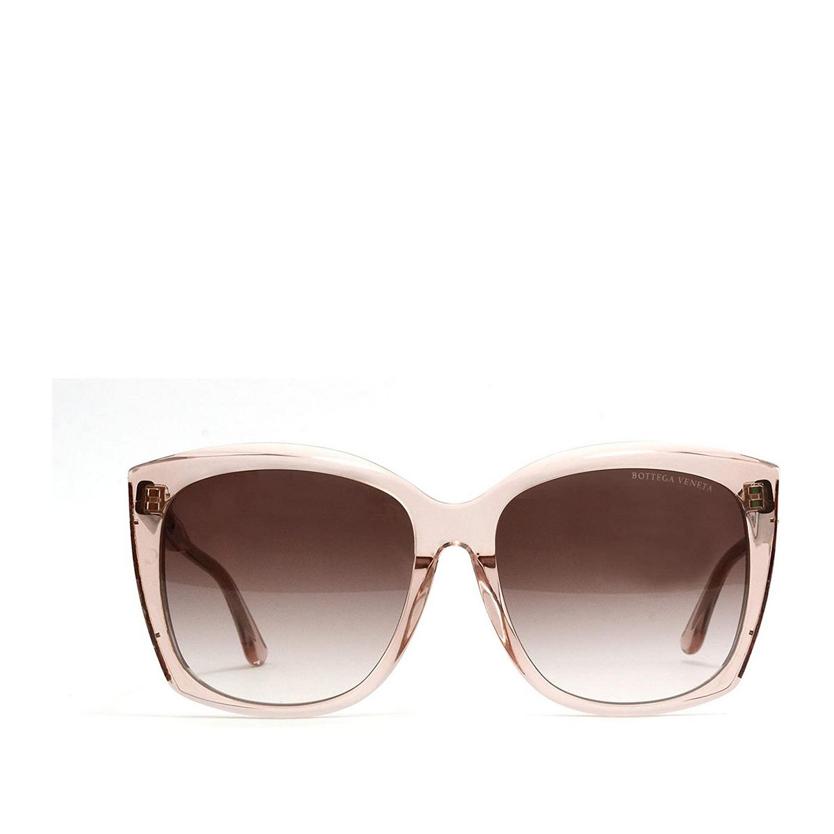 Bottega Veneta® Square Sunglasses: BV0182S color Transparent Pink 004 - front view.