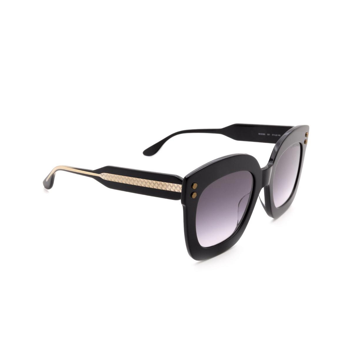 Bottega Veneta® Square Sunglasses: BV0238S color Black 001 - three-quarters view.