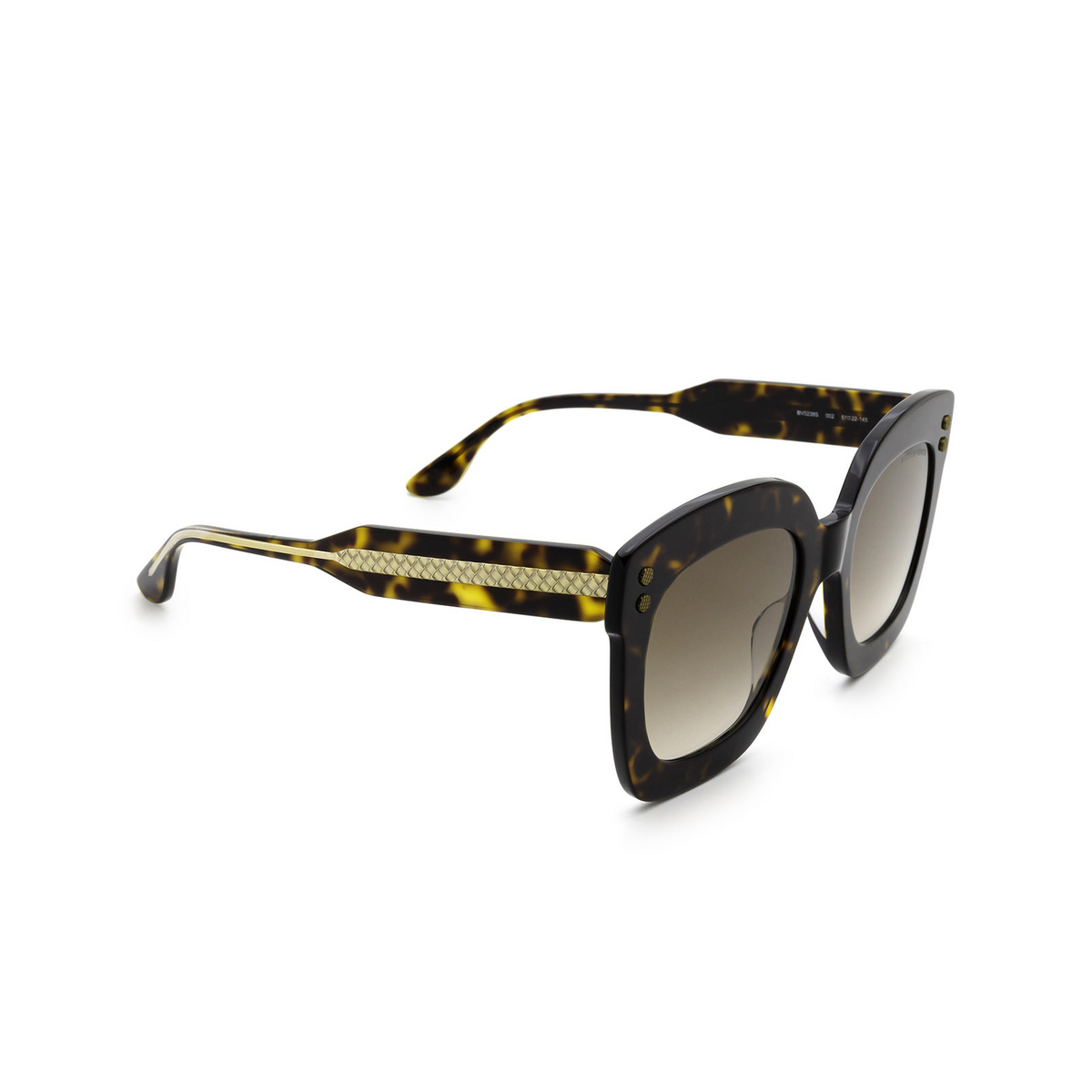 Bottega Veneta® Square Sunglasses: BV0238S color Havana 002 - three-quarters view.
