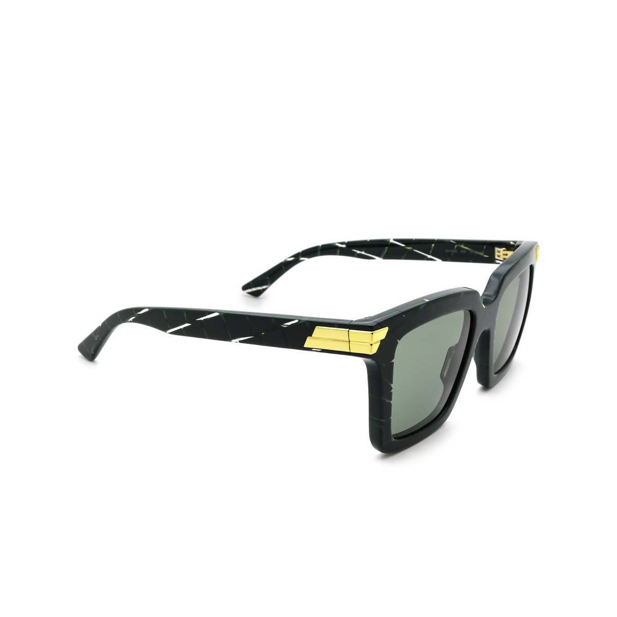 Bottega Veneta® Square Sunglasses: BV1005S color Green 008 - three-quarters view.