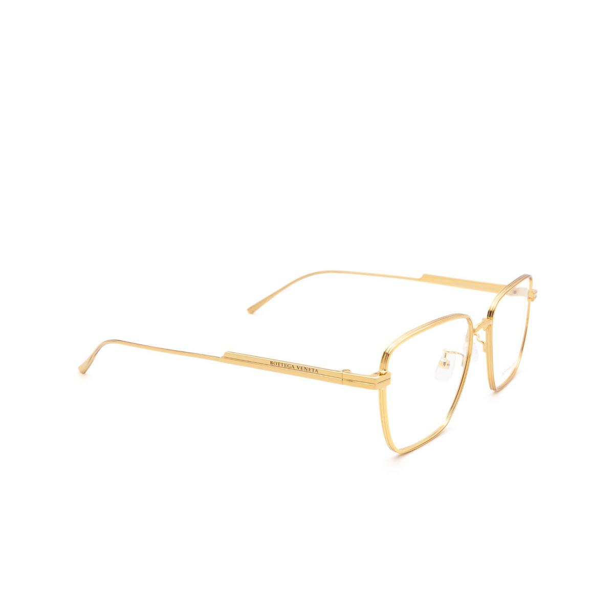 Bottega Veneta® Rectangle Eyeglasses: BV1015O color Gold 002 - three-quarters view.