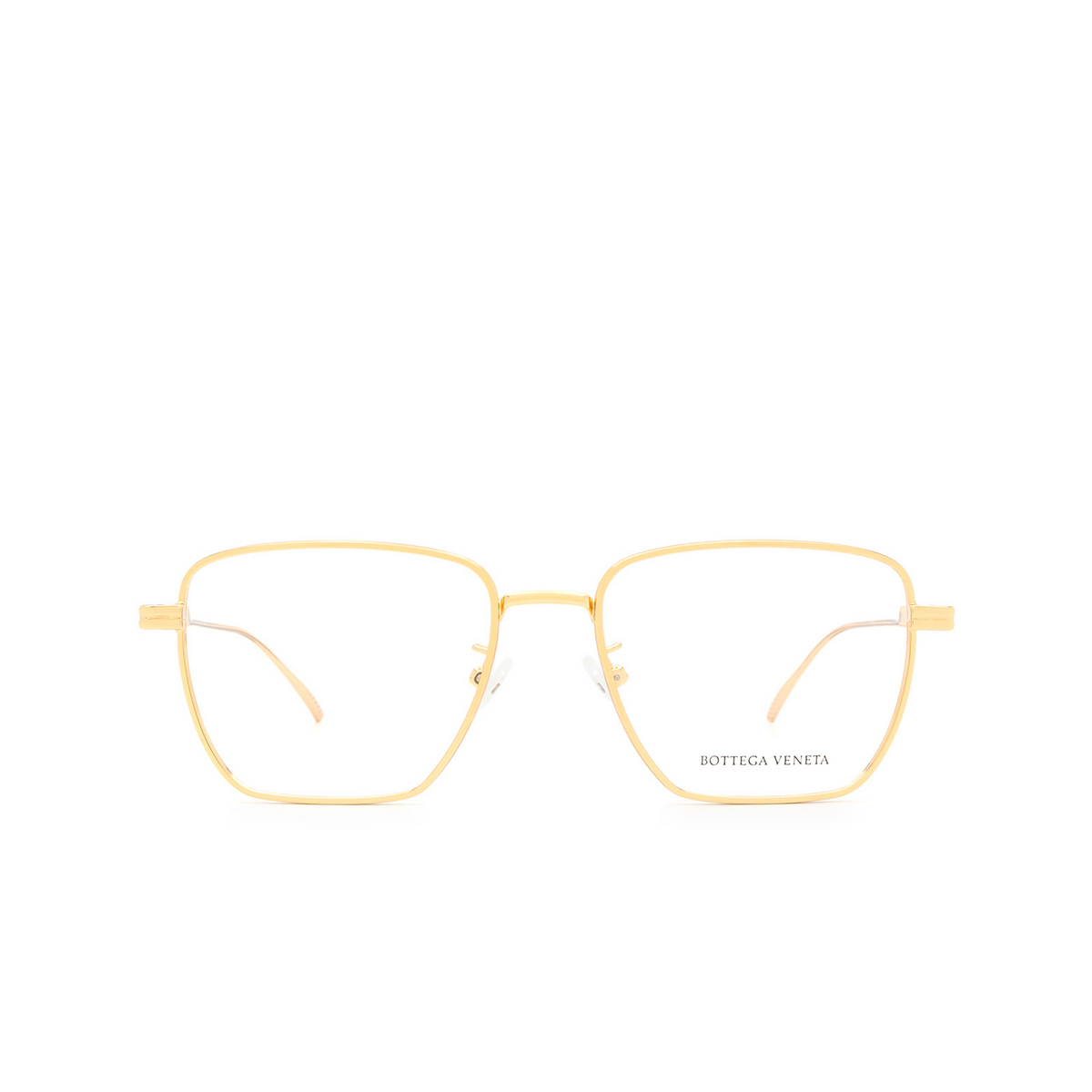 Bottega Veneta® Rectangle Eyeglasses: BV1015O color Gold 002 - front view.