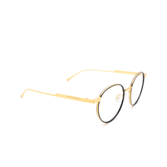Bottega Veneta® Round Eyeglasses: BV1017O color Black & Gold 001.