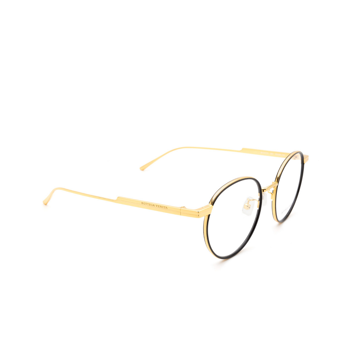 Bottega Veneta® Round Eyeglasses: BV1017O color Black & Gold 001 - three-quarters view.