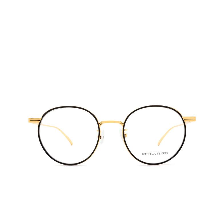 Bottega Veneta® Round Eyeglasses: BV1017O color Black & Gold 001.