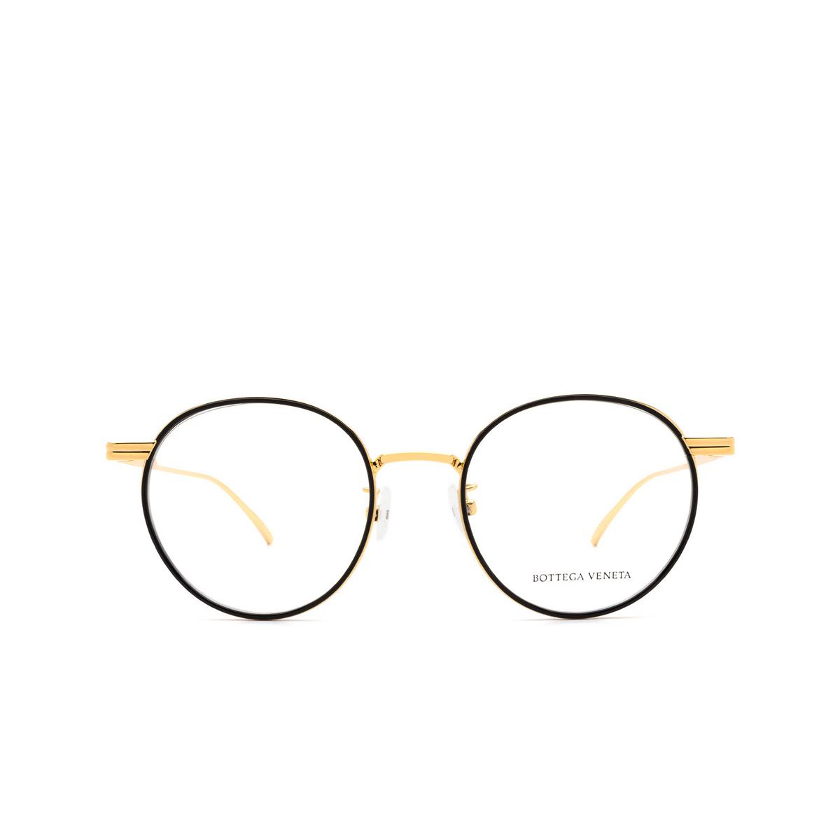 Bottega Veneta® Round Eyeglasses: BV1017O color Black & Gold 001 - front view.