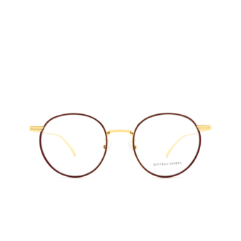 Bottega Veneta® Round Eyeglasses: BV1017O color Burgundy & Gold 004.