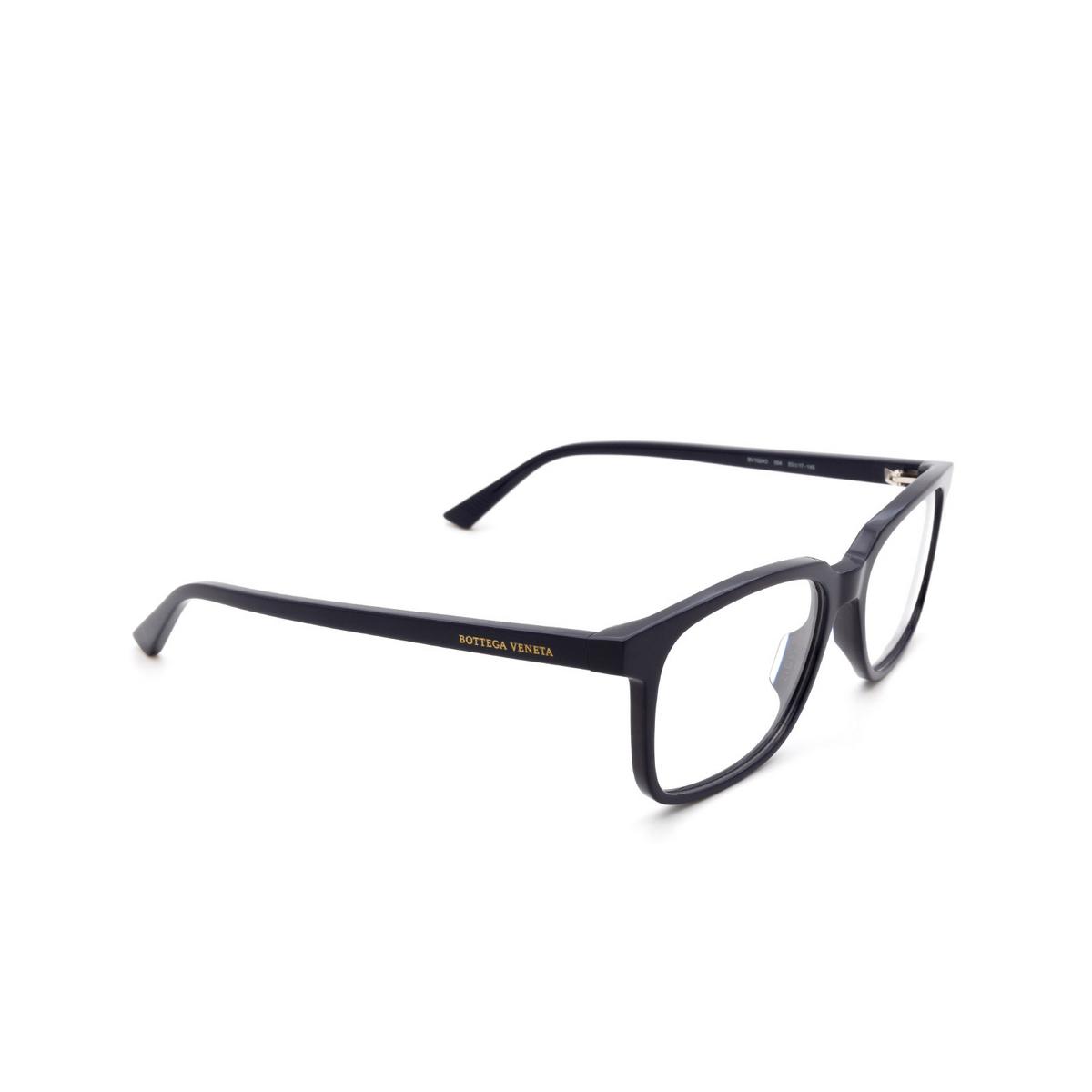 Bottega Veneta® Rectangle Eyeglasses: BV1024O color Blue 004 - three-quarters view.