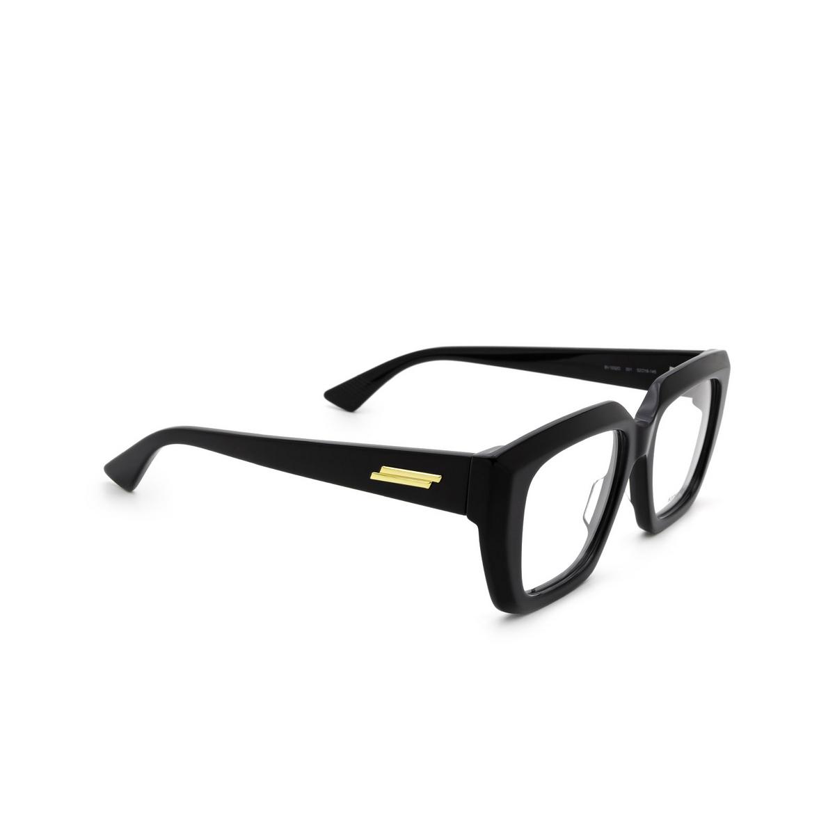 Bottega Veneta® Square Eyeglasses: BV1032O color Black 001 - three-quarters view.