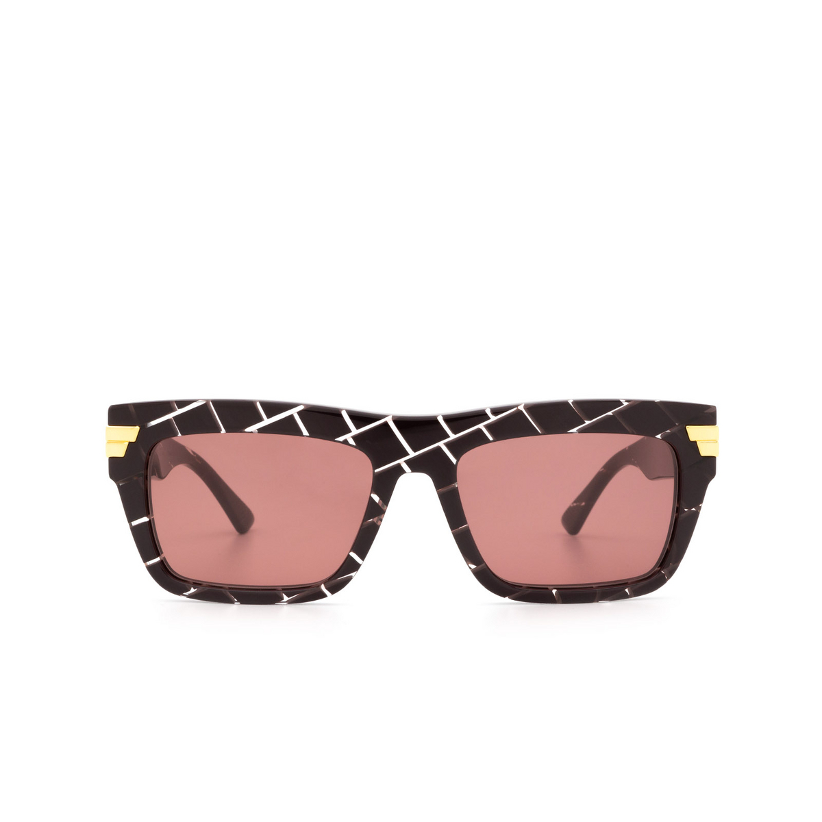 Bottega Veneta® Rectangle Sunglasses: BV1058S color Burgundy 003 - front view.