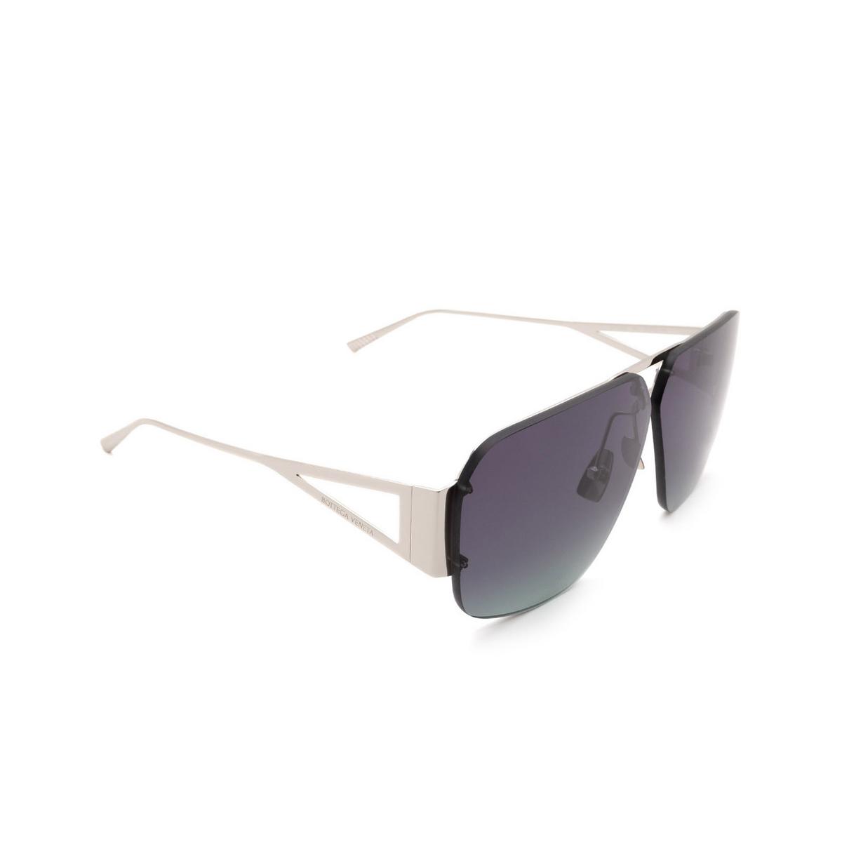 Bottega Veneta® Square Sunglasses: BV1065S color Silver 001 - three-quarters view.