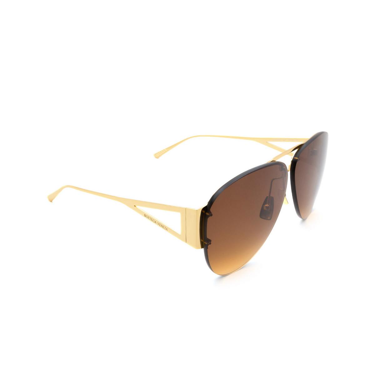 Bottega Veneta® Square Sunglasses: BV1065S color Gold 002.
