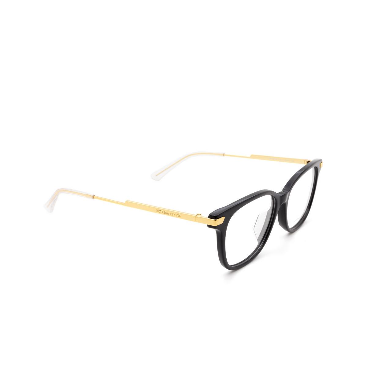 Bottega Veneta® Square Eyeglasses: BV1074OA color Black 001 - three-quarters view.