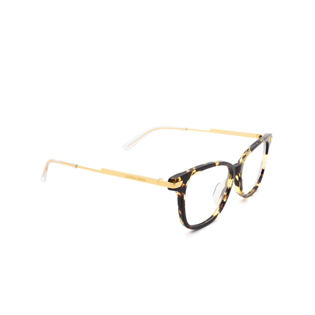 Bottega Veneta® Square Eyeglasses: BV1074OA color Havana 002 - three-quarters view.